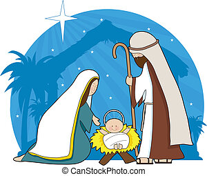Nativity Scene - A nativity scene with the star of Bethlehem...