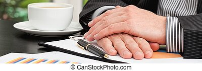 Businessman during business meeting - Panoramic view of...