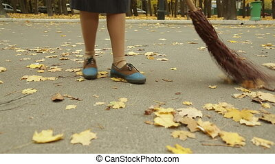 Street cleaning - scrubwoman cleaning the street