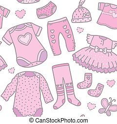 Seamless pattern baby girls clothes. Eps10 format
