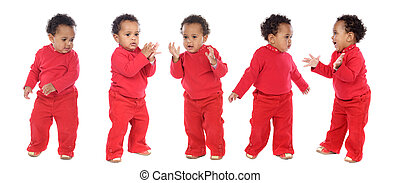 photographic sequence of a hyperactive baby a over white...