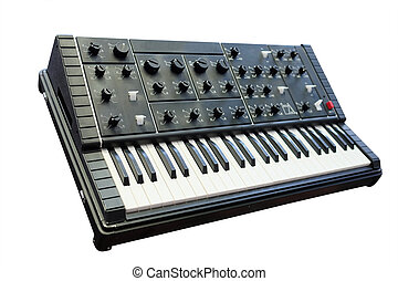 synthesizer under the white background