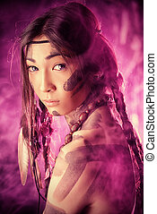 art ethnic - American Indian in traditional costume and...