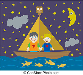 Kids sailing adventure - Kids on a sailing adventure into...