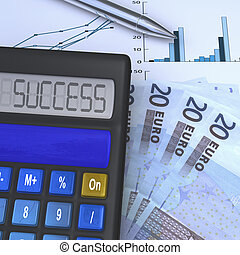 Calculator with success result and 20 eurio fan - close-up...