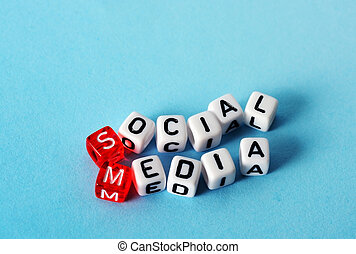 Social Media cubes - Social Media on red and white dices on...