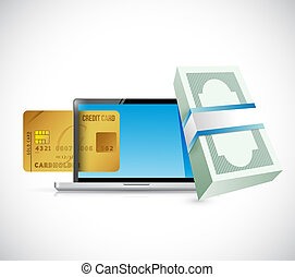 money online credit card concept illustration design over a...