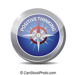 positive thinking compass illustration design