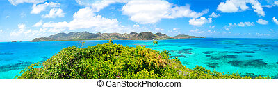 Panorama, huge panoramic view of Providencia caribbean...