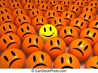 Smiley Face - Smiley face between a lot of sad faces