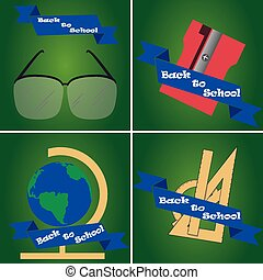 back to school - a set of green backgrounds with blue...