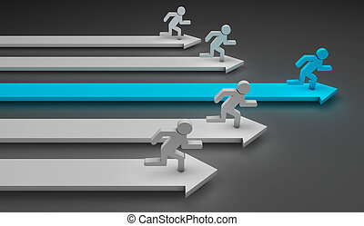 Running men - 3d image of arrows with a blue man and other...