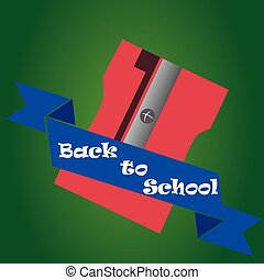 back to school - an isolated sharpener and a ribbon with...