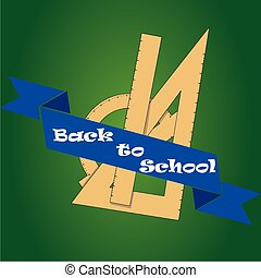 back to school - a set of rulers and a blue ribbon with text...