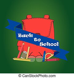 back to school - a set of school items, a bag and a blue...