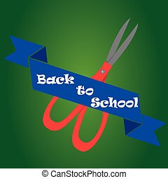 back to school - an isolated scissors and a blue ribbon with...