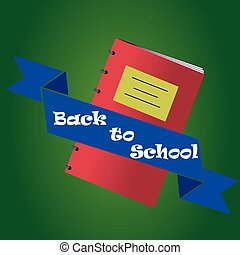 back to school - an isolated red notebook and a blue ribbon...