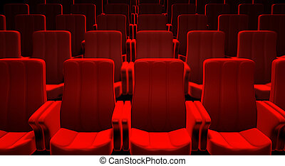 Red Cinema Seats - 3d picture of red cinema seats