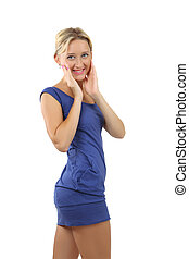 Blonde woman, 34 years old, in a short blue dress - Slender...