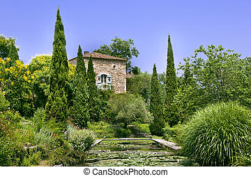 Garden - French garden and house in South of France