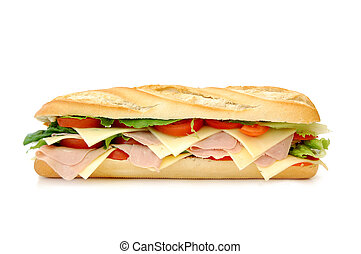 Sub sandwich - Large sub sandwich isolated on white