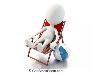 3d white people relaxed on a beach chair Summer concept - 3d...