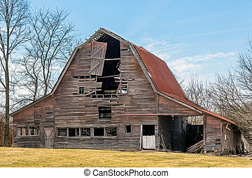 Falling Down Barn - An old barn in rural Indiana is slowly...