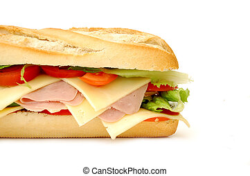 Sub sandwich - Delicious sub sandwich on white