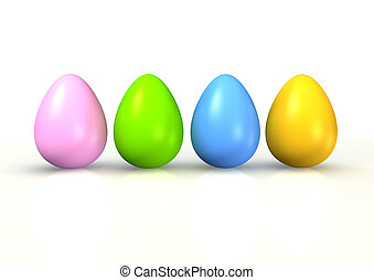 easter eggs - colorful easter egge isolated on white...