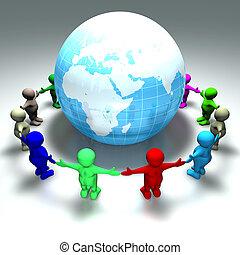 ring of kids around the world - ring of kids around a globe...