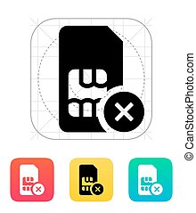 SIM card with cancel sign icon. Vector illustration.