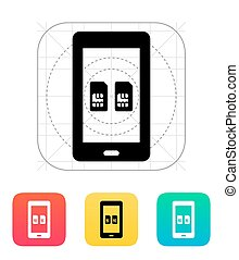 Dual SIM mobile phone icon. Vector illustration.