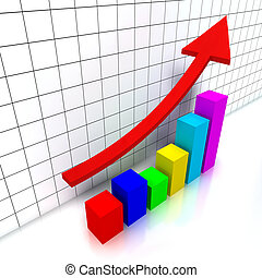 Financial chart - 3d chart with colorful cubes and a raising...