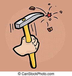 Holding a Chisel - Close up cartoon of hand using a chisel