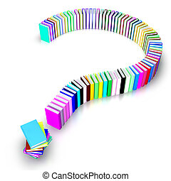 Question mark of books - 3d image of a question mark of...