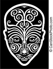 maori face tattoo - stylized maori face tattoo moko