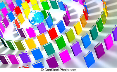 circle of colorful books around a globe - 3d render of a...