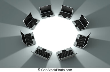 Circle of laptops - 3d rendered image of a perspective view...