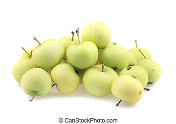 early sumer green apples isolated on the white background