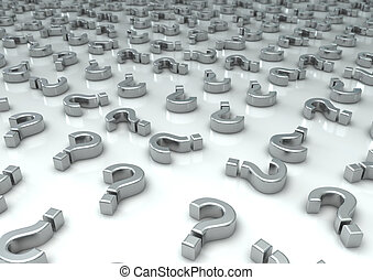 Question Marks - 3d image of a lot of chrome question marks...