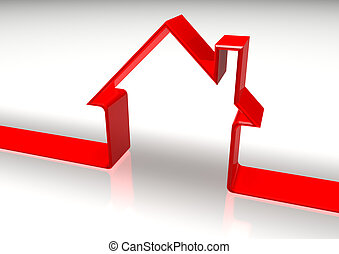 Red House Shape - 3d red shape of an house