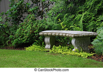 Granite bench - Intricate granite bench in a beautiful...