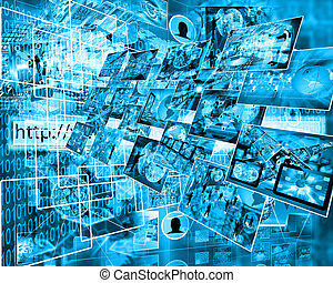 interface - Many abstract images on the theme of computers,...
