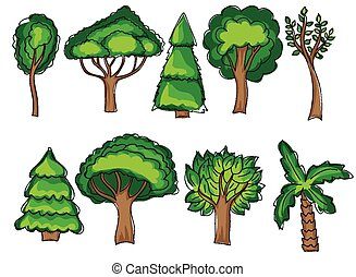Green trees set in doodle style