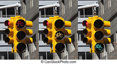 Bicycle lights on the crossroad in New York City - Bicycle...