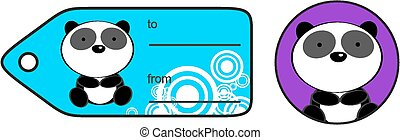 cute baby panda bear giftcard sticker in vector format very...