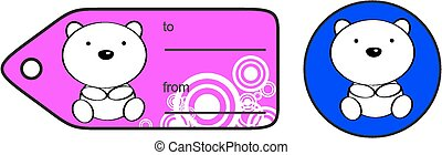 cute baby polar bear giftcard sticker in vector format very...