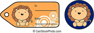 cute baby lion giftcard sticker in vector format very easy...