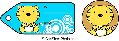cute baby tiger giftcard sticker in vector format very easy...