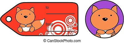 cute baby fox giftcard sticker in vector format very easy to...